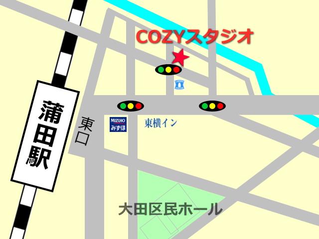 大田区 蒲田駅にあるレンタルスタジオ COZYの地図