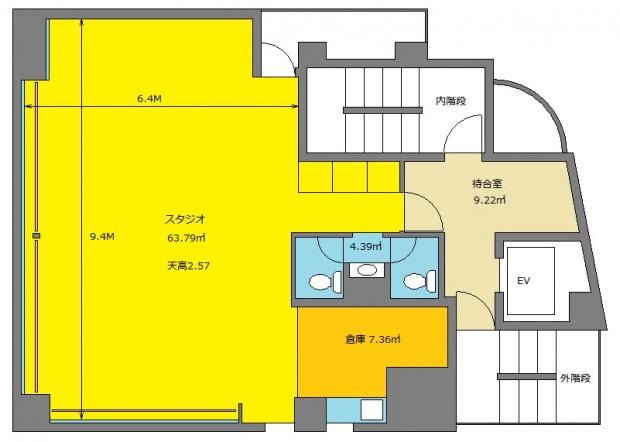 大田区 蒲田 貸しスタジオ ダンススタジオ スタジオ図面