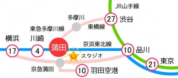 蒲田レンタルスタジオの路線図